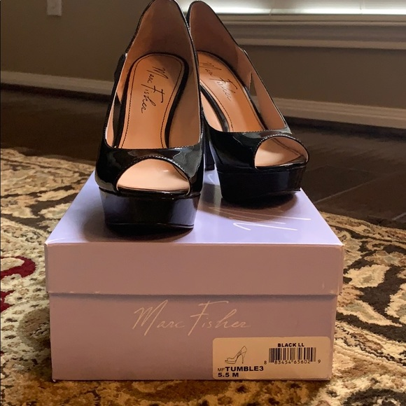 Marc Fisher Shoes - Marc Fisher black patent open toe pumps